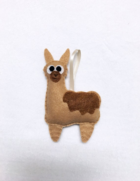 Llama Ornament, Christmas Ornament, Leonard the Llama - Made to Order, Felt Animal, Farm Animal