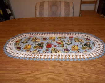 Crocheted Table Runner Home Sweet Home Tea Pots Watering Cans Bird Houses 16 X 36 Table Topper Oval Centerpiece Dresser Scarf Handmade Gift