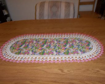 Crocheted, Easter Table Runner, Eggs, Baskets, Easter Bunny, Fabric Center, Pink Crocheted Edge, Centerpiece Handcrafted, Dresser Scarf Gift