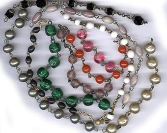 vintage ROSARY bead REMNANTS assorted antique parts colorful assortment old rosary chain pieces TEN colors