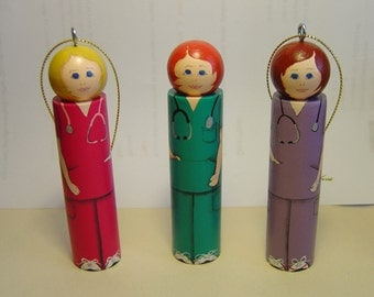 Female Scrubs Ornament Nurse, Health Care Professional, color option, Personalized