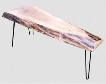 Live Edge Walnut Slab Hairpin Leg Coffee Table