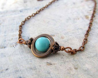 Turquoise necklace - copper necklace - sky blue Southwest Bohemian Jewelry