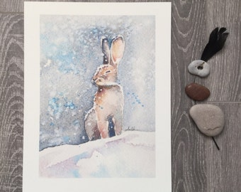 Rabbit in the snow winter painting hare snow bunny
