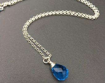 Faceted Blue Quartz Sterling Silver Necklace