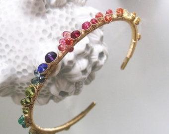 Rainbow Gemstone 14k Solid Gold Cuff, Stacking Bracelet, Orange Sapphire, Tanzanite, Emerald, Artist Made, Original Design, Signature
