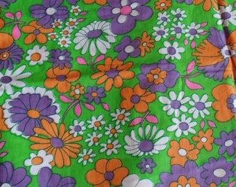 4 1/2 Yards Vintage Mod Purple Orange Green Flower Fabric