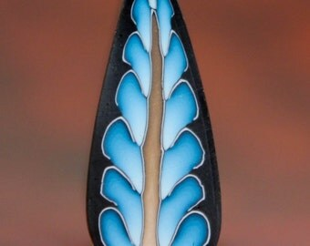 Polymer Clay Blue Feathered Leaf Cane -'Intricacies of the Heart' (26dd)