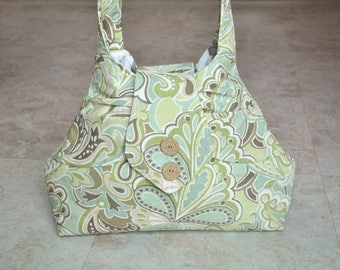 Mint green and tan handbag, beautiful light blue and beige purse, designer tote, floral paisley hand bag, one of a kind purse with pockets