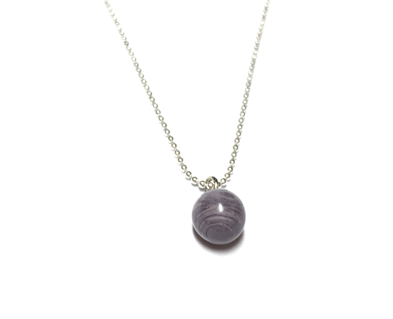 Grey Marbled Drop Necklace Simple Ball Chain Necklace