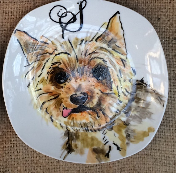 Small Custom Porcelain Hand Painted Dog Plate 7.5 inches for Birthday Special Occasion Wedding or Engagement Gift