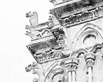 Instant Download Notre Dame Gargoyles, Printable Photo Art, Gothic Architecture, Black and White Paris Watercolor Painting