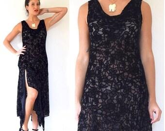 FLASH SALE / 20% off Vintage 90s does 20s Sheer Black Velvet Floral Slip Dress