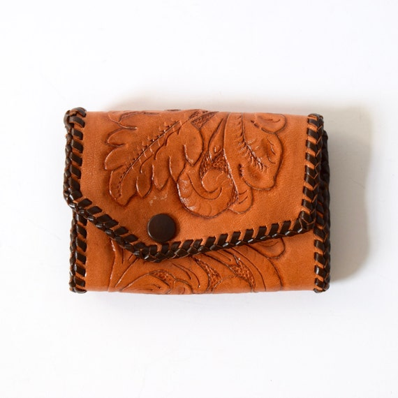 Vintage 60s 70s Tooled Brown Leather Key Wallet