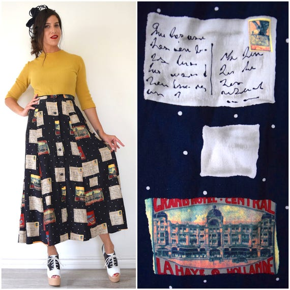 Vintage 90s Postcards Home Novelty Print High Waisted Button Front Silk A Line Midi Skirt (size small, medium)