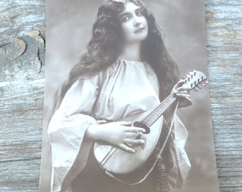 Antique 1910/1920 postcard  French real photo lovely women playing mandolin