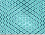 YARD - Joel Dewberry Fabric, True Colors Collection, Lodge Lattice in Aqua, cotton quilting fabric -  SALE
