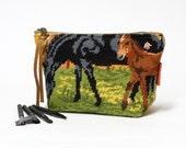 Cosmetic Bag | Horse Decor |  Makeup Pouch | Zipper Pouch | Needlepoint bag | Large Makeup Bag Handmade by EllaOsix