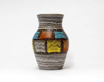Modernist West Germany JASBA vase | German Pottery | Multicolor Vase | German Ceramics | Mid Century Modern Home Decor