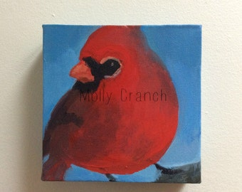 Pause- Original Painting on Canvas, Northern Cardinal