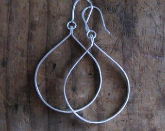 Large Rustic Sterling Silver Tab Hoop Earrings