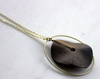 Wood necklace, brass ring necklace, long pendant necklace, gold ring necklace, Spring necklace, gift for mom girlfriend wife sister