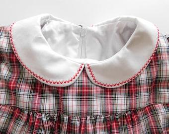 Vintage PeterPan Collar Plaid Dress, Vintage Long sleeve PeterPan Collar Plaid Dress, Free Shipping 4/5T ?