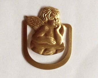 Cherub / Guardian angel book mark putti gold tone raw brass bookmark 2.5cm