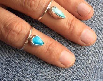 Stacking Rings Set of Two Best Friend Rings Mom Daughter Rings Sterling Silver Rings Stackers Turquoise Jewelry Handmade Dainty Rings