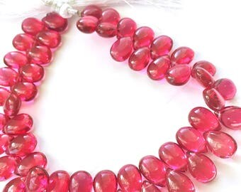 1/2 strand of pomegranate color hydro quartz smooth pears