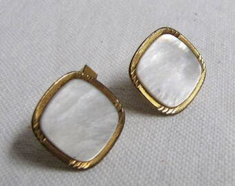 Vintage Swank Gold Filled Mother of Pearl Cufflinks, Mop Cufflinks, Vintage Cuff Links, Cufflinks, Mens Jewelry,  Fathers Day Gift, 1/20 12K