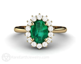 Emerald Engagement Ring Emerald Ring Diamond Halo Oval Cluster May Birthstone Green Gemstone Ring Unique Engagement