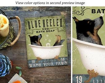 Blue Heeler australian cattle dog bath soap Company artwork on gallery wrapped canvas by Stephen Fowler