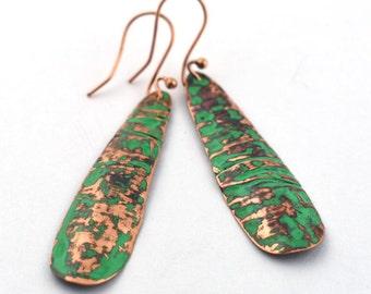 Green patina oblong copper earrings