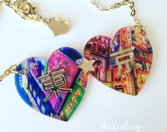 "TOKYO ""darling japan"" 2017 laser cut silkscreen print necklace, plexiglass, acrylic, perspex"