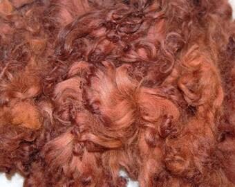Karakul Sheep Wool Locks for Spinning Felting and Doll Hair, Doll Wig, Hand Dyed shades of Chestnut Brown 1 oz.