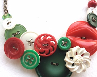 Holiday Christmas Necklace with Green, red, and white Vintage Buttons