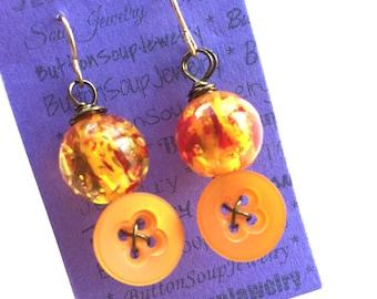 Yellow Orange Vintage Button Earrings