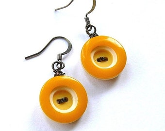 Holiday Jewelry Sale Retro Mustard Yellow Circles Vintage Button Dangle Earrings