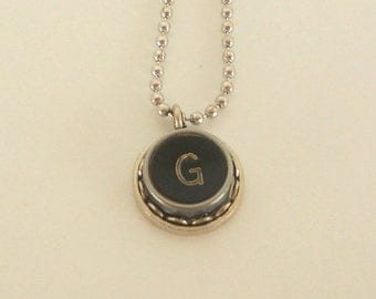 SALE Typewriter Key Necklace -  Letter G - Vintage - Initial Jewelry -  ALL Letters Available - Typography Jewelry
