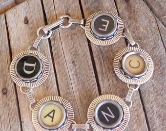 SALE Typewriter Key Bracelet Jewelry , Dance,  Retro, Recycyled, Reclaimed, Vintage - Custom Orders Welcome