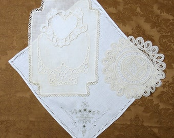 Vintage Linen Whitework Lot, Embroidered White-on-White Linens...Napkins, Dresser Scarf, Doily...pillows, sachets, journals, quilts, LP517