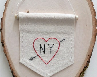 I Love NY Embroidery, Ready To Ship, Embroidery Wall Decor, Embroidered Heart Banner, NYC Pennant, Housewarming Gift, New York City Art