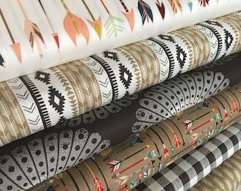 Fat Quarter bundle, High Adventure, Aztec Baby Quilt Fabric, Scrap Quilt Fabric, Southwest Baby Quilt Fab, Tribal fabric, Bundle of 6