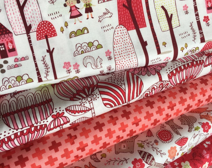 Woodland Nursery fabric, Woodland Baby Quilt, Deer Bedding Fabric, Pink Nursery fabric, Walk in the Woods Bundle of 5- Choose the Cuts