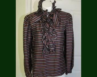 Vintage 1980s Designer Valentino Sportswear Ruffled Victorian Style Blouse Shirt