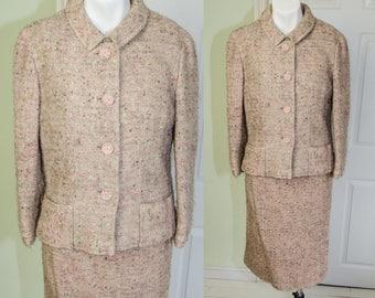 Rare Vintage 1960's Emmanuelle Khanh Pink Mad Men Tweed Suit