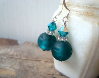 Teal Glass, Crystal and Rhinestone Earrings. Sterling Silver Holiday Jewelry Winter Weddings Bridesmaid Earrings Party Jewelry Green