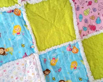 Mermaid Rag Quilt,Baby, Toddler, Blanket, Fish, Ocean, Sea Life, Aqua, Green, Pink, and White, Little Girls, Ready to Ship
