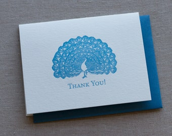 "Peacock ""Thank You"" Letterpress Greeting Card with Envelope"